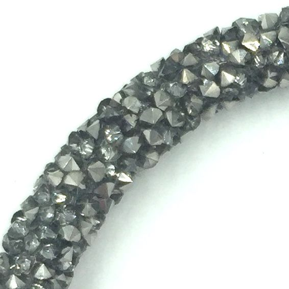 7mm sparkle dust crystal tubing 1 metre - grey