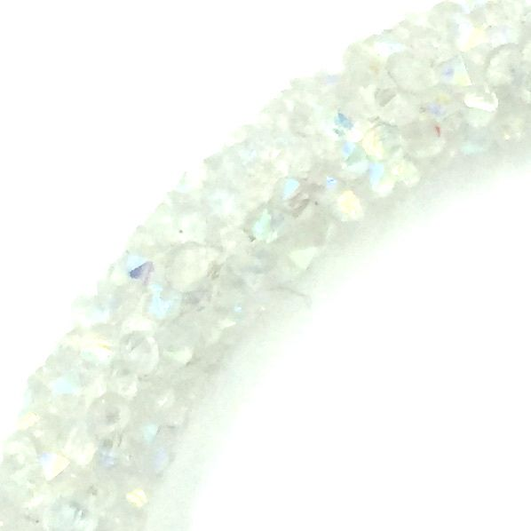 7mm sparkle dust crystal tubing 1 metre - white ab