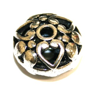 7pcs x 15mm Antique silver plated rondelle with heart spacer bead - S.F03 - WC15 - 1606052