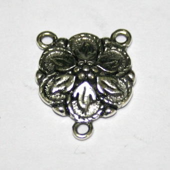 8 x Antique Silver Rosary Bead Flower Connector 19mm - F.03 - WA206 - 1411022