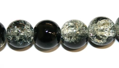 85pcs x 10mm Black / Clear glass crackled beads -- 3005093