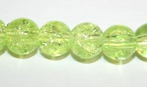 85pcs x 10mm Bright yellow glass crackled beads -- 3005042