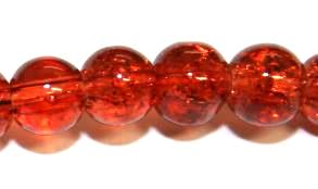 85pcs x 10mm Brown-red glass crackled beads -- 3005055