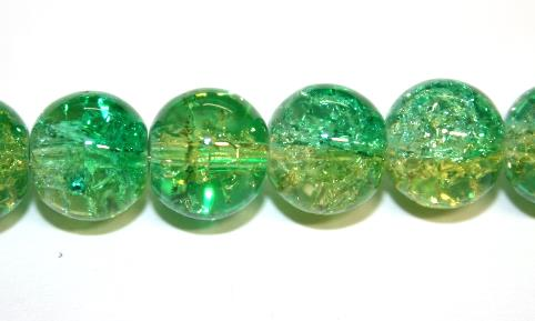 85pcs x 10mm Green / yellow glass crackled beads -- 3005102