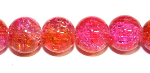 85pcs x 10mm Orange / pink glass crackled beads -- 3005196