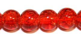 85pcs x 10mm Orange-red glass crackled beads -- 3005053