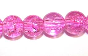 85pcs x 10mm Pink glass crackled beads -- 3005057