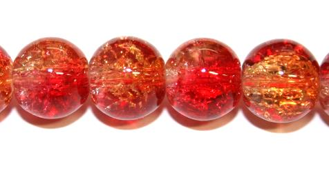 85pcs x 10mm Red / orange glass crackled beads -- 3005101