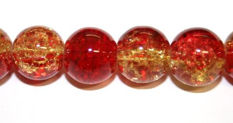 85pcs x 10mm Red / yellow glass crackled beads -- 3005100