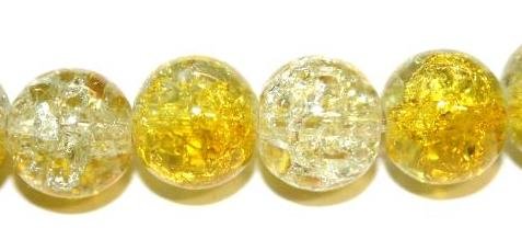 85pcs x 10mm Yellow / Clear glass crackled beads -- 3005103