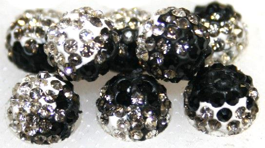 8mm Black Clear 70 Stone Pave Crystal Beads- 2 Hole PCB08-70-037