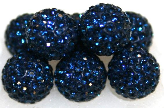 8mm Blue 70 Stone  Pave Crystal Beads- 2 Hole PCB08-70-027