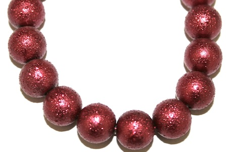 8mm Burgundy Red Glass Blister Moon Pearls- 110 pces