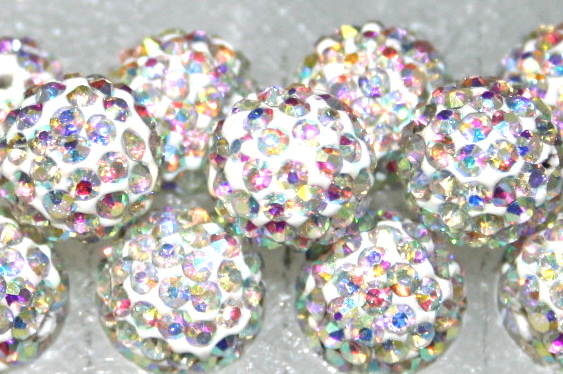 8mm Clear AB 70 Stone  Pave Crystal Beads- Half Drilled  PCBHD08-070-001