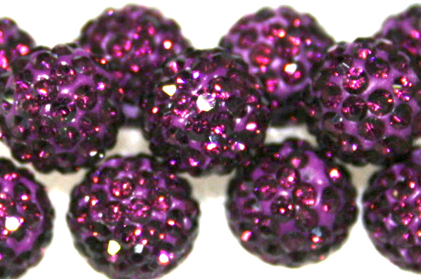 8mm Deep Purple 70 Stone  Pave Crystal Beads- Half Drilled  PCBHD08-070-030
