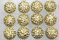 8mm Lemon 70 Stone  Pave Crystal Beads- 2 Hole PCB08-70-022