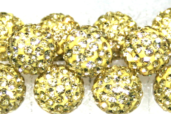 8mm Lemon 70 Stone  Pave Crystal Beads- Half Drilled  PCBHD08-070-022