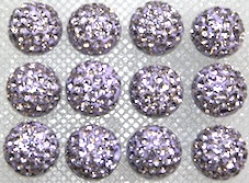 8mm Lilac 70 Stone  Pave Crystal Beads- 2 Hole PCB08-70-015