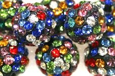 8mm Multi-coloured 70 Stone  Pave Crystal Beads- Half Drilled  PCBHD08-070-041