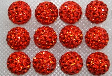 8mm Orange 70 Stone Pave Crystal Beads- 2 Hole PCB08-70-018