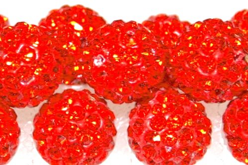 8mm Orange 70 Stone  Pave Crystal Beads- Half Drilled  PCBHD08-070-018