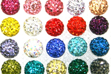 8mm Pave Crystal Beads- 70 Stones- 2 Hole