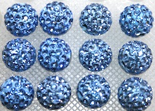 8mm Powder Blue 70 Stone Pave Crystal Beads- Half Drilled  PCBHD08-070-021