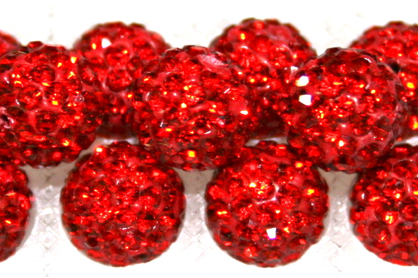 8mm Red 70 Stone  Pave Crystal Beads- Half Drilled  PCBHD08-070-009