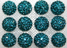 8mm Teal 70 Stone  Pave Crystal Beads- 2 Hole PCB08-70-008