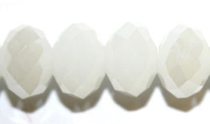 8mm White Faceted Glass Rondelle Beads