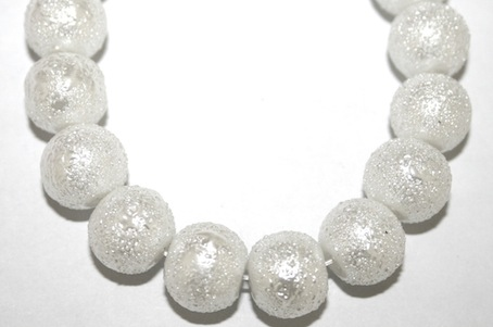 8mm White Glass Blister Moon Pearls- 110 pces