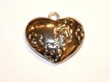 9 Pces x Antique Silver Heart Alloy Charm #ACH096 Size 17MM X 16MM