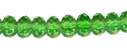 98pcs x 6mm Green faceted glass rondelle beads -- S.G06 -- 3005615