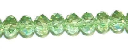 98pcs x 6mm Light green with AB coating faceted glass rondelle beads -- S.G06 -- 3005610