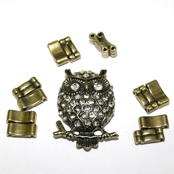 Antique Brass Owl Pendant Ring Kit 12 Pieces & Elastic 1 piece - S.F07 - WA214 - Clear 1411133