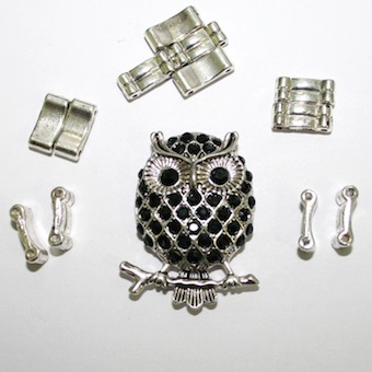 Antique Silver Owl Pendant Ring Kit 12 Pieces & Elastic 1 piece- S.F07- WA215- Black 1411134