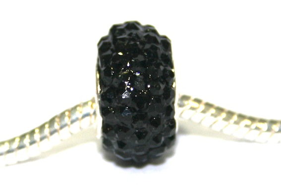 Black 12mm x 8mm Pave crystal bead with 5mm hole PD-S-12- 05