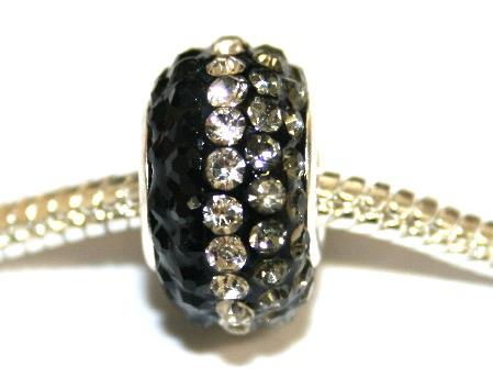 Black-grey-clear 15mm x 10mm Pave crystal bead with 5mm hole PD-S-15- 37