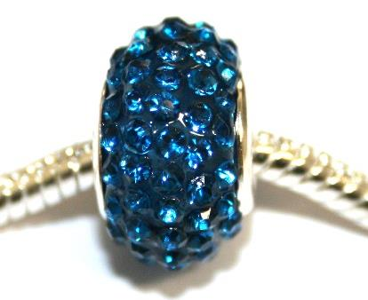 Blue 15mm x 10mm Pave crystal bead with 5mm hole PD-S-15- 26