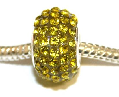 Bright yellow 15mm x 10mm Pave crystal bead with 5mm hole PD-S-15- 16