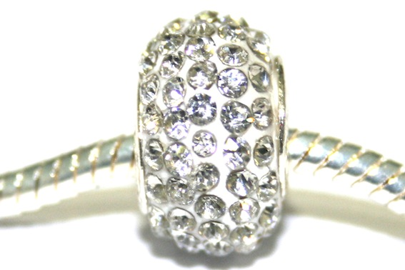 Clear 12mm x 8mm pave crystal bead with 5mm hole PD-S-12- 03
