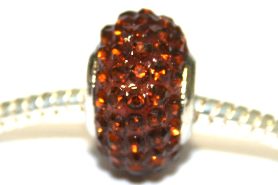 Coffee 15mm x 10mm Pave crystal bead with 5mm hole PD-S-15- 25