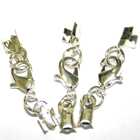 Crimp end clasp sets for cord and ribbon