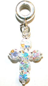 Crucifix Charm And Carrier With Clear AB Faceted Glass Stones
