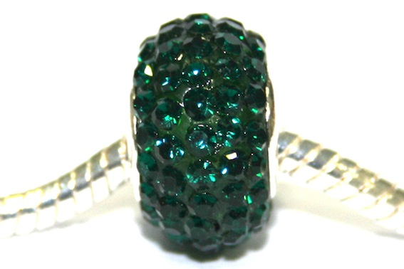 Dark Green 15mm x 10mm pave crystal bead with 5mm hole PD-S-15- 28