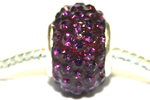 Deep purple 15mm x 10mm pave crystal bead with 5mm hole PD-S-15- 30