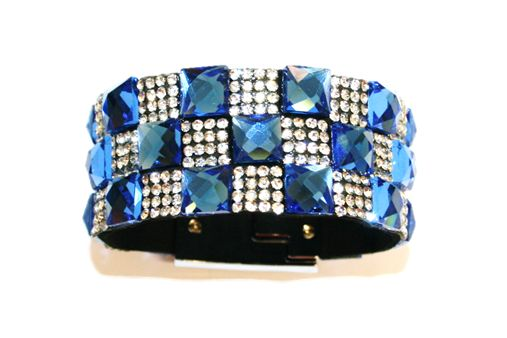 Diamante crystal bling cuff bracelet kit - 10mm faceted square glass+2mm diamante stone -- 5000037kit