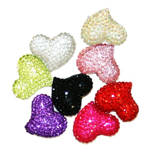 Diamond acrylic flat back -- curved heart shape range 12mm x 10mm x 5mm
