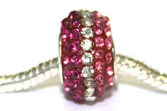 Fuscia pink-Clear-Pink 15mm x 10mm Pave crystal bead with 5mm hole PD-S-15