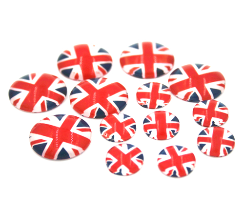 Glass flat back Union Jack flag beads